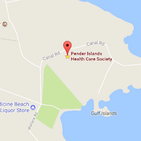 map of Pender Island location of Dr Mark Wensley Chiropractor